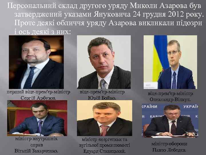 Персональний склад другого уряду Миколи Азарова був затверджений указами Януковича 24 грудня 2012