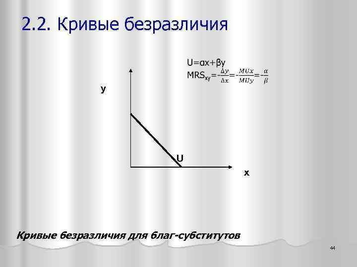 2. 2. Кривые безразличия y U x Кривые безразличия для благ-субститутов 44