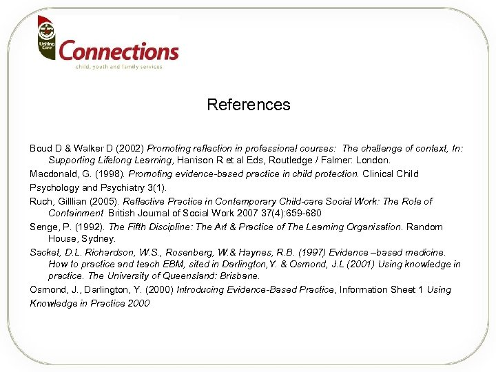 References Boud D & Walker D (2002) Promoting reflection in professional courses: The challenge