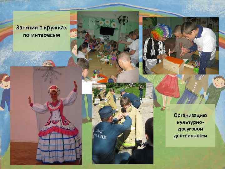 Занятия в кружках по интересам Организацию культурнодосуговой деятельности
