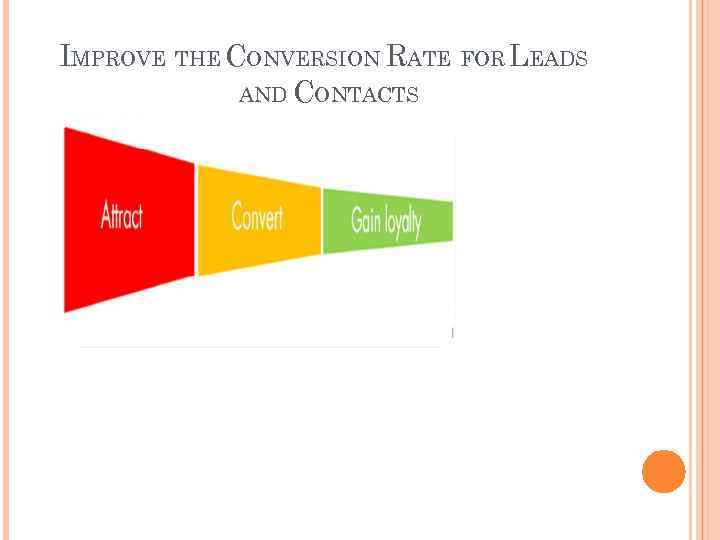 IMPROVE THE CONVERSION RATE FOR LEADS AND CONTACTS