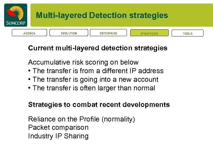Multi-layered Detection strategies AGENDA EVOLUTION ENTERPRISE STRATEGIES Current multi-layered detection strategies Accumulative risk scoring