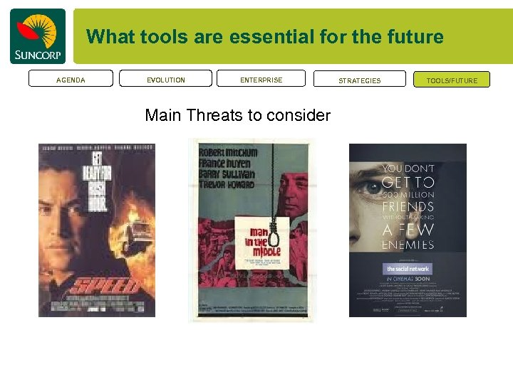 What tools are essential for the future AGENDA EVOLUTION ENTERPRISE Main Threats to consider