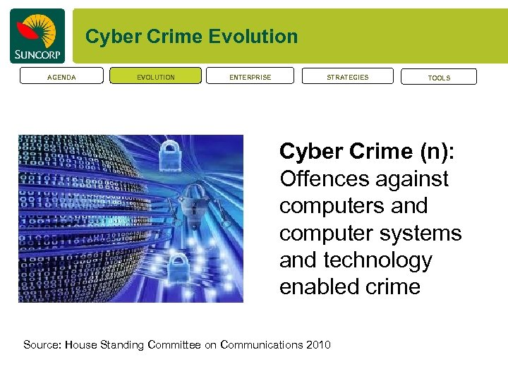 Cyber Crime Evolution AGENDA EVOLUTION ENTERPRISE STRATEGIES TOOLS Cyber Crime (n): Offences against computers