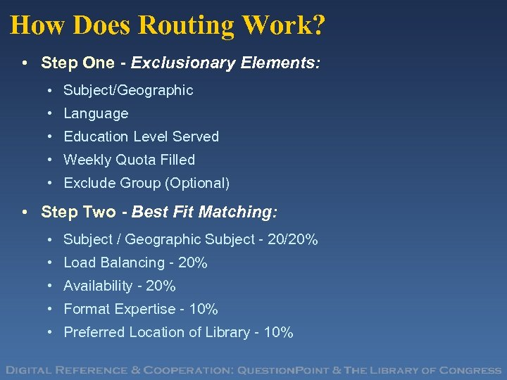 How Does Routing Work? • Step One - Exclusionary Elements: • Subject/Geographic • Language