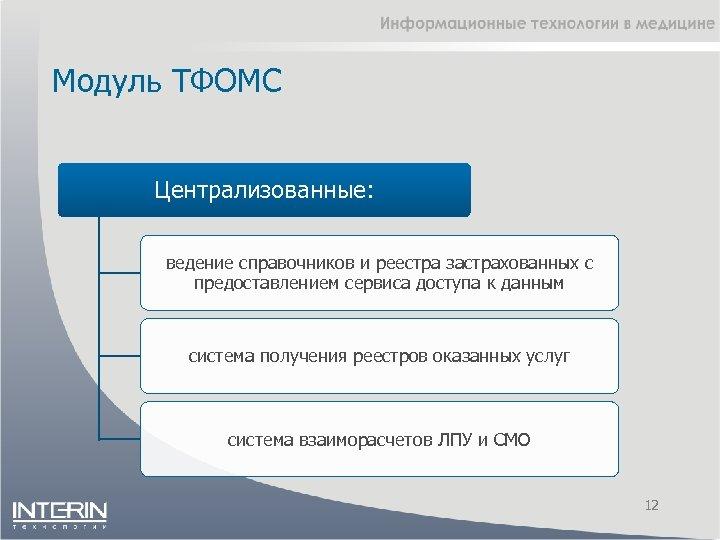 Модуль ТФОМС Централизованные: ведение справочников и реестра застрахованных с предоставлением сервиса доступа к данным