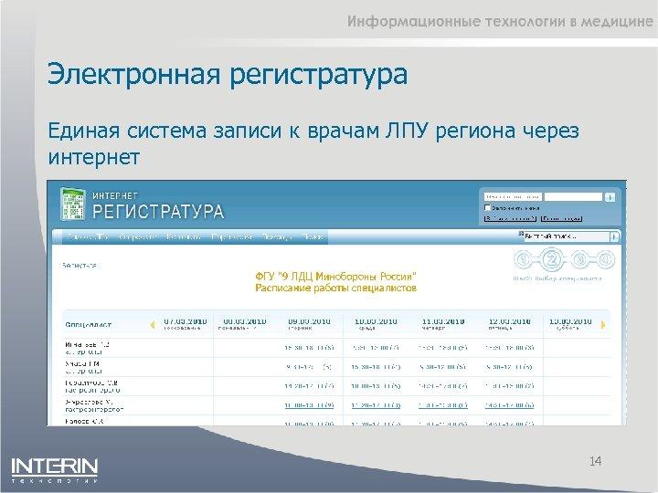 Электронная регистратура Единая система записи к врачам ЛПУ региона через интернет 14