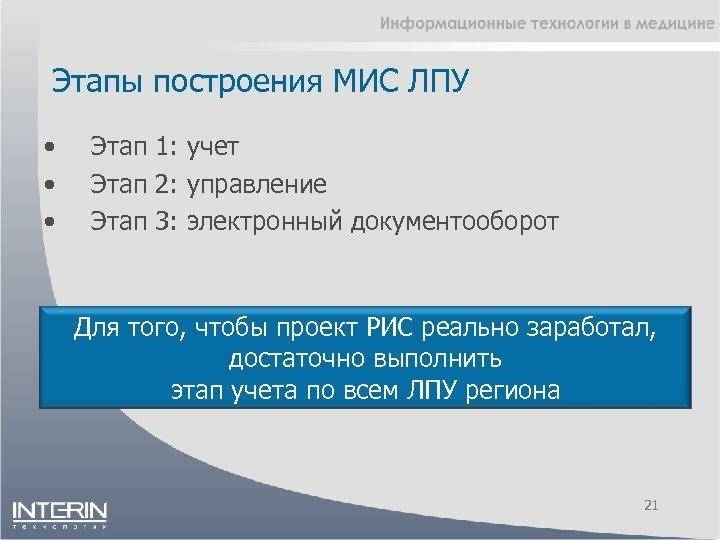 Этапы построения МИС ЛПУ • • • Этап 1: учет Этап 2: управление Этап