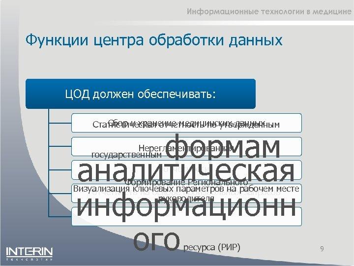 Функции центра обработки данных ЦОД должен обеспечивать: Сбор и хранение медицинских данных Статистическая отчетность