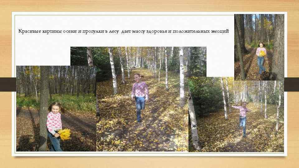 Красивые картины осени и прогулки в лесу дает массу здоровья и положительных эмоций .