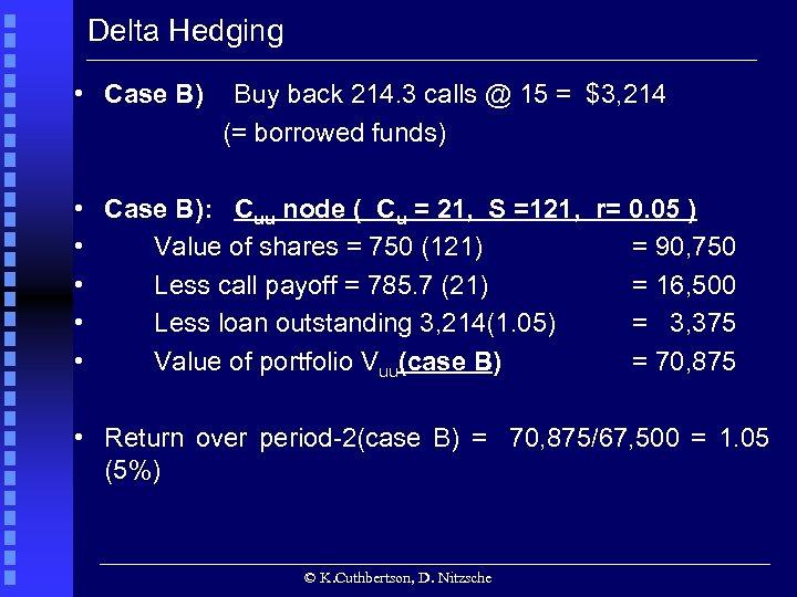 Delta Hedging • Case B) Buy back 214. 3 calls @ 15 = $3,