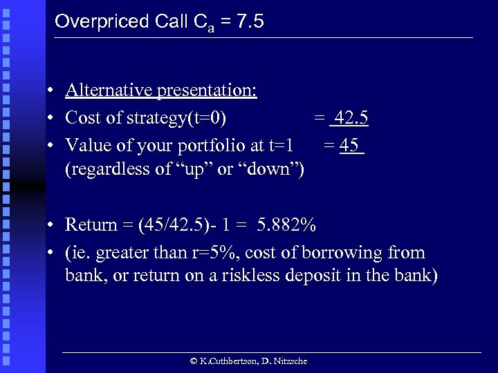 Overpriced Call Ca = 7. 5 • Alternative presentation: • Cost of strategy(t=0) =