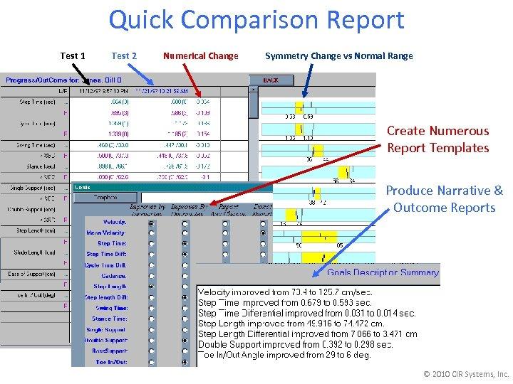 Quick Comparison Report Test 1 Test 2 Numerical Change Symmetry Change vs Normal Range