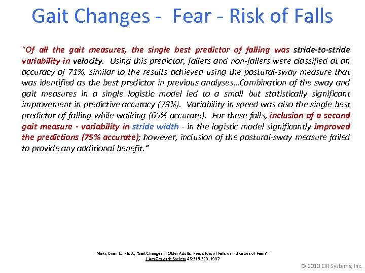 Gait Changes - Fear - Risk of Falls