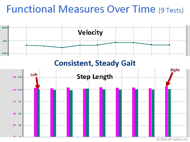 Functional Measures Over Time (9 Tests) Velocity Consistent, Steady Gait Left Step Length Right