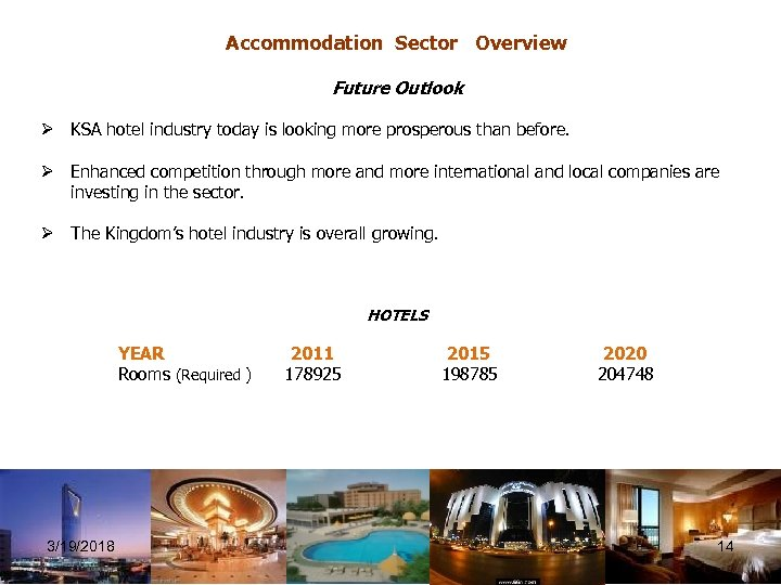 Accommodation Sector Overview Future Outlook Ø KSA hotel industry today is looking more prosperous