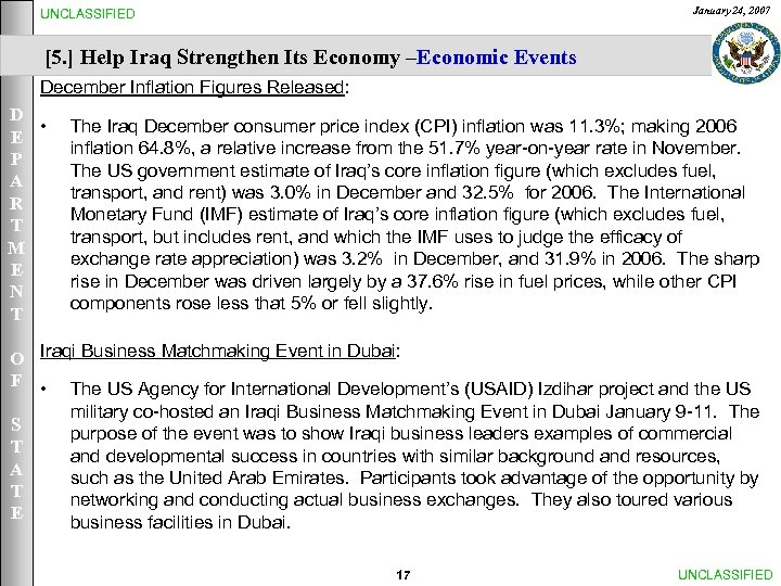 January 24, 2007 UNCLASSIFIED [5. ] Help Iraq Strengthen Its Economy –Economic Events December