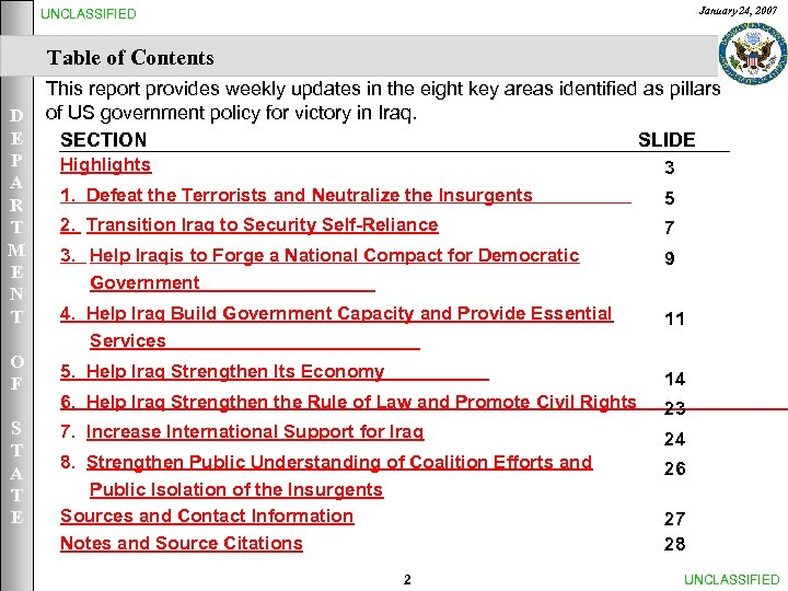 January 24, 2007 UNCLASSIFIED Table of Contents This report provides weekly updates in the