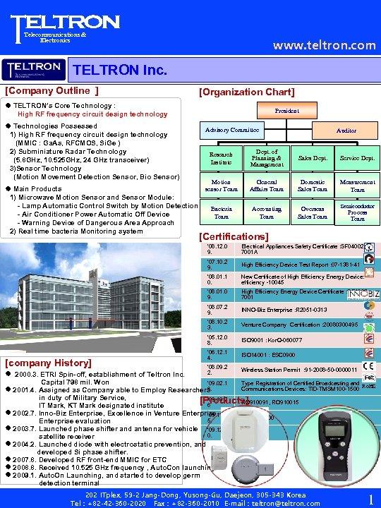 Telecommunications & Electronics www. teltron. com TELTRON Inc. [Company Outline ] [Organization Chart] TELTRON's