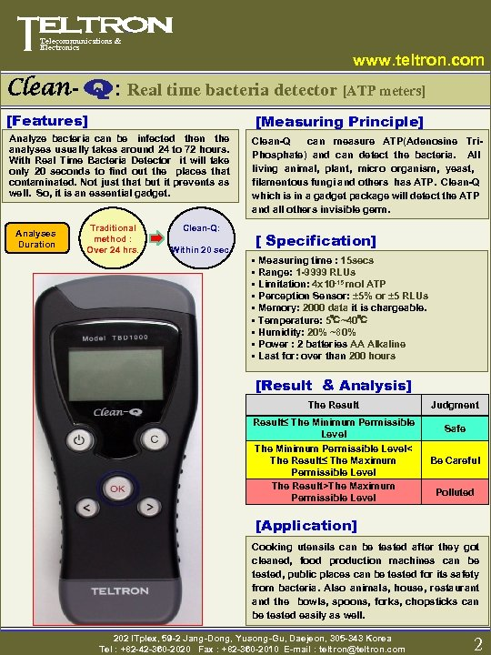 Telecommunications & Electronics www. teltron. com Clean- Q: Real time bacteria detector [ATP meters]