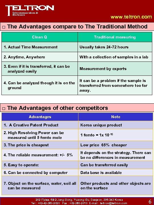Telecommunications & Electronics Clean-Q Advantages www. teltron. com □ The Advantages compare to The
