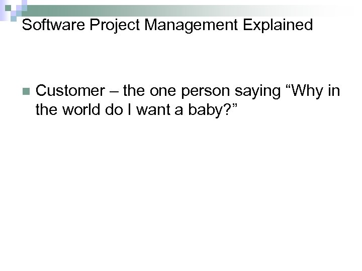 """Software Project Management Explained n Customer – the one person saying """"Why in the"""