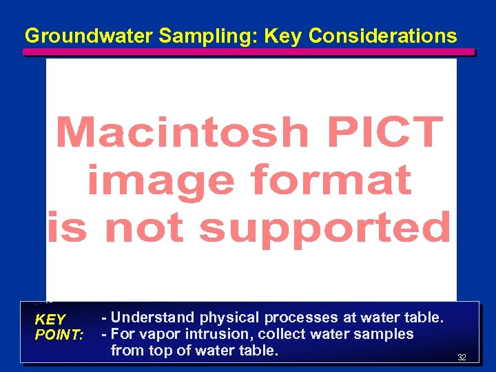Groundwater Sampling: Key Considerations KEY POINT: - Understand physical processes at water table. -