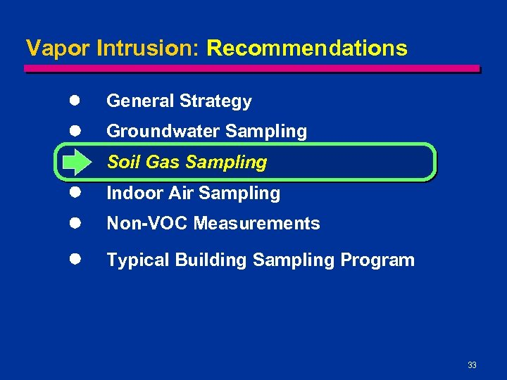 Vapor Intrusion: Recommendations l General Strategy l Groundwater Sampling l Soil Gas Sampling l