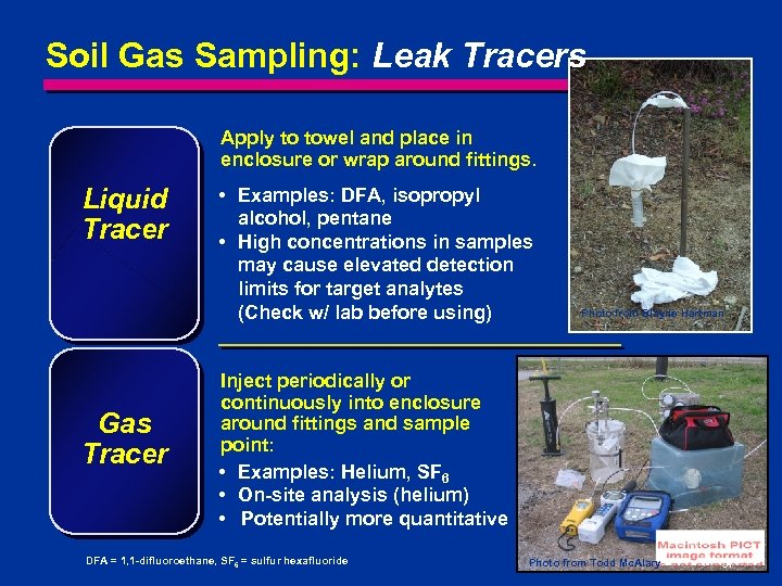 Soil Gas Sampling: Leak Tracers Apply to towel and place in enclosure or wrap