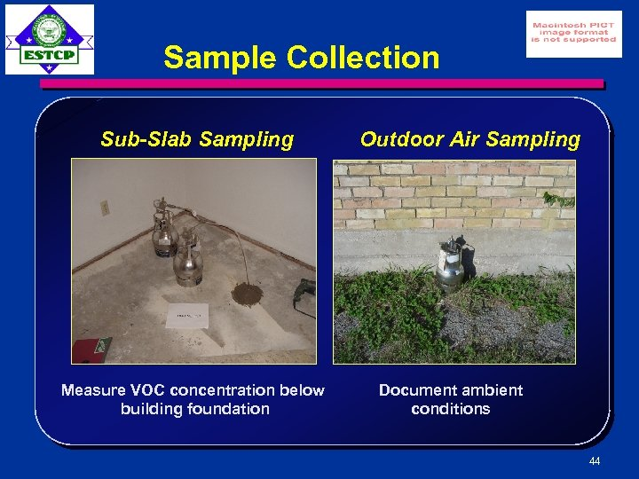 Sample Collection Sub-Slab Sampling Measure VOC concentration below building foundation Outdoor Air Sampling Document