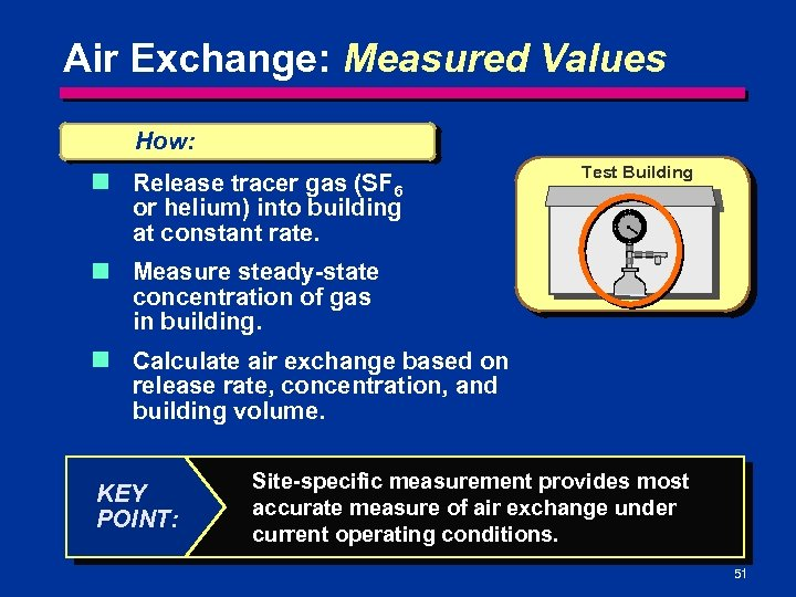 Air Exchange: Measured Values How: n Release tracer gas (SF 6 or helium) into