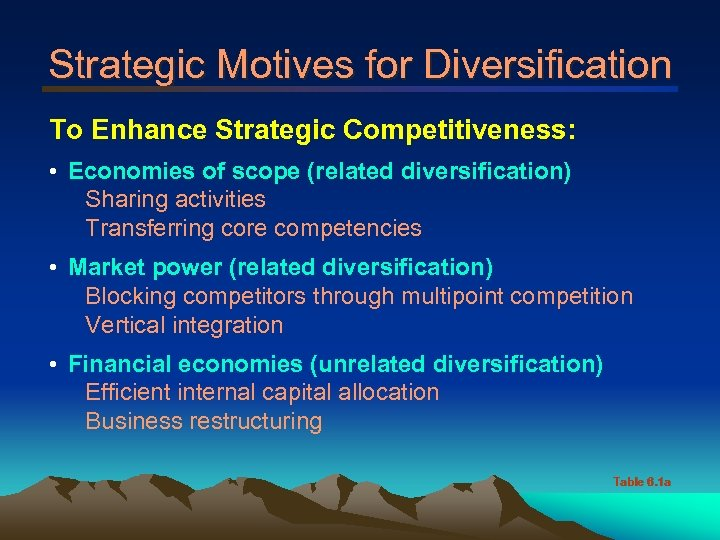 Strategic Motives for Diversification To Enhance Strategic Competitiveness: • Economies of scope (related diversification)