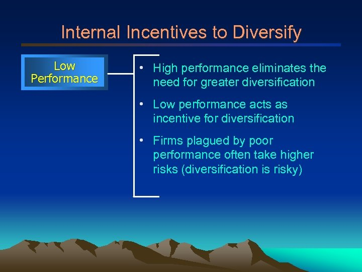 Internal Incentives to Diversify Low Performance • High performance eliminates the need for greater