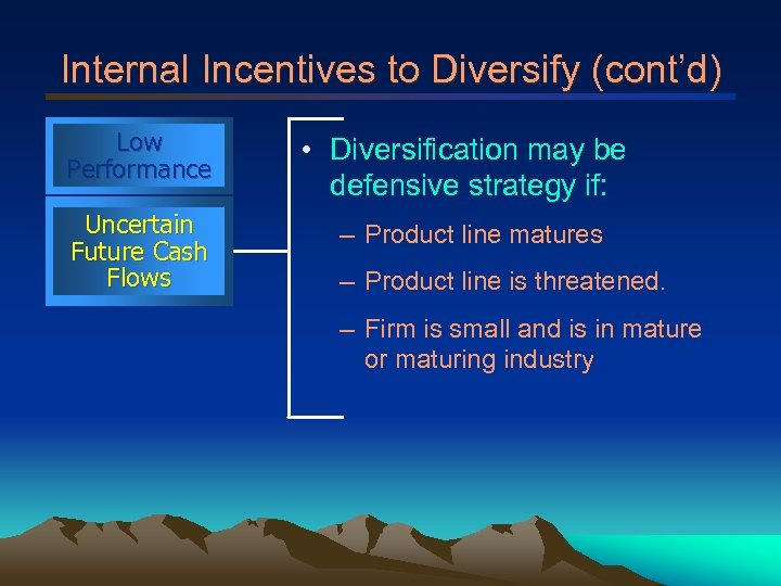Internal Incentives to Diversify (cont'd) Low Performance • Diversification may be defensive strategy if: