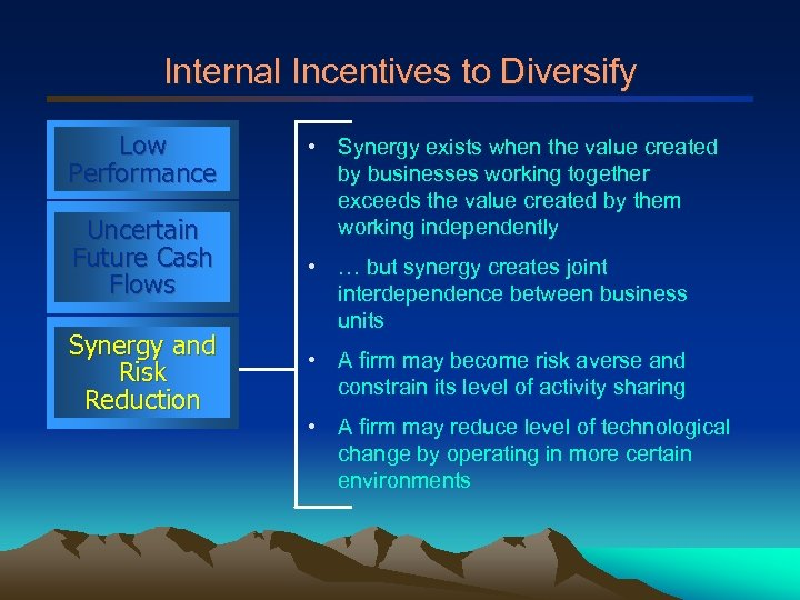 Internal Incentives to Diversify Low Performance Uncertain Future Cash Flows Synergy and Risk Reduction