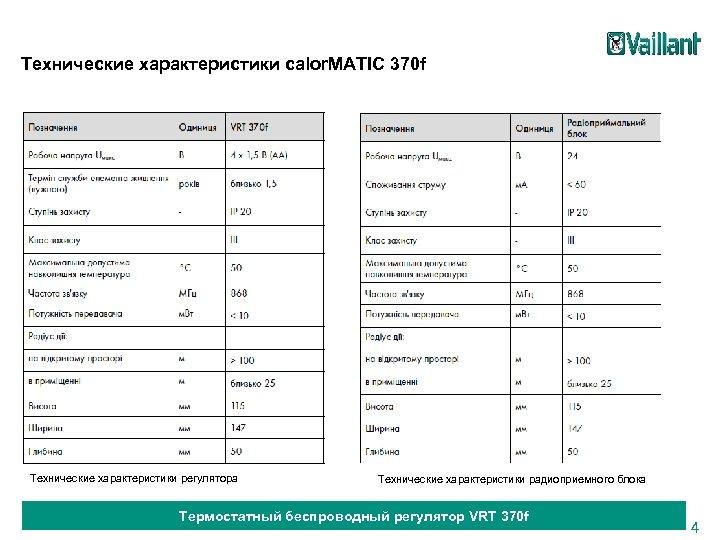 Технические характеристики calor. MATIC 370 f Технические характеристики регулятора Технические характеристики радиоприемного блока Термостатный
