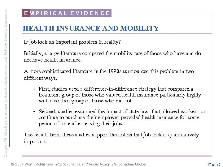Chapter 15 Health Insurance I: Health Economics and Private Health Insurance EMPIRICAL EVIDENCE HEALTH
