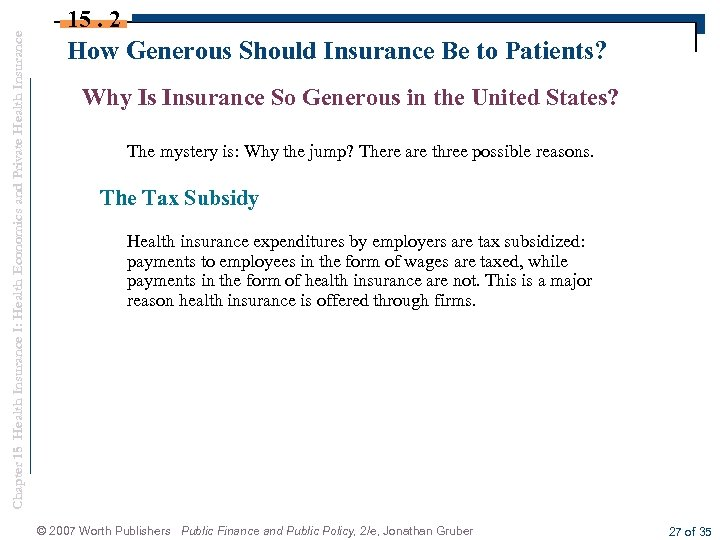 Chapter 15 Health Insurance I: Health Economics and Private Health Insurance 15. 2 How