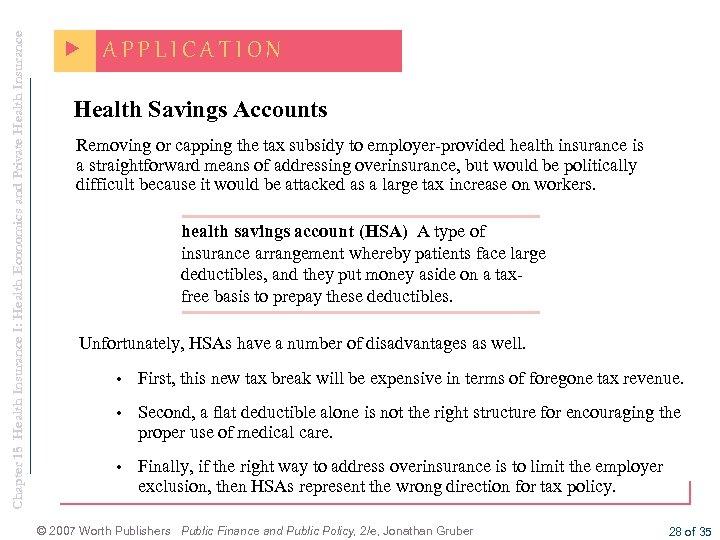 Chapter 15 Health Insurance I: Health Economics and Private Health Insurance APPLICATION Health Savings