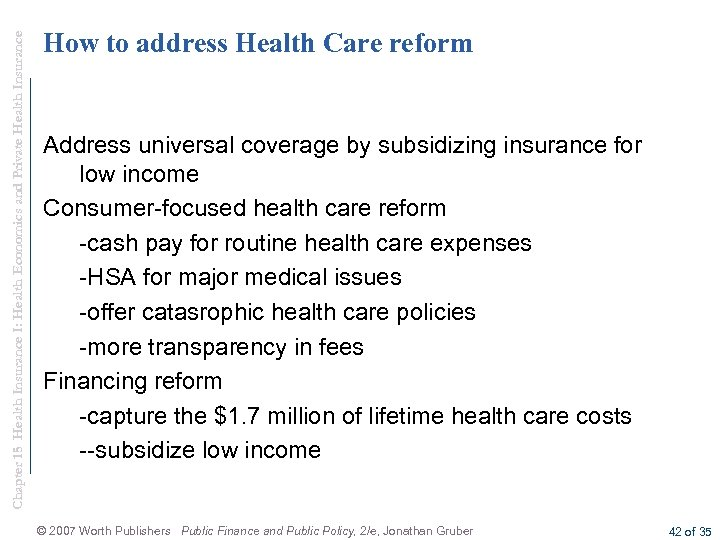 Chapter 15 Health Insurance I: Health Economics and Private Health Insurance How to address