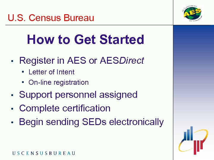 U. S. Census Bureau How to Get Started • Register in AES or AESDirect