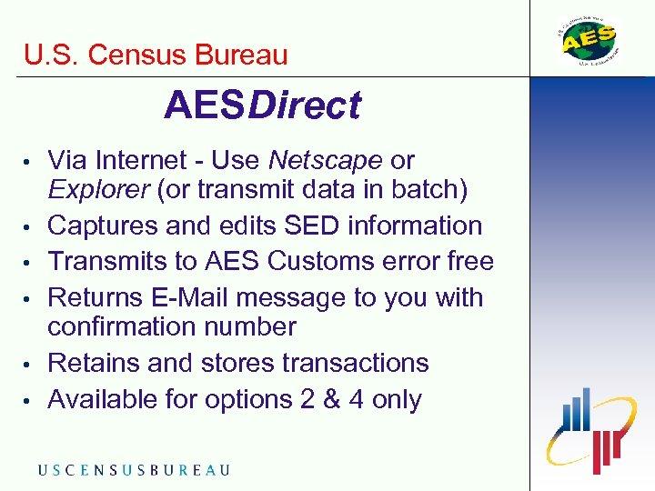 U. S. Census Bureau AESDirect • • • Via Internet - Use Netscape or