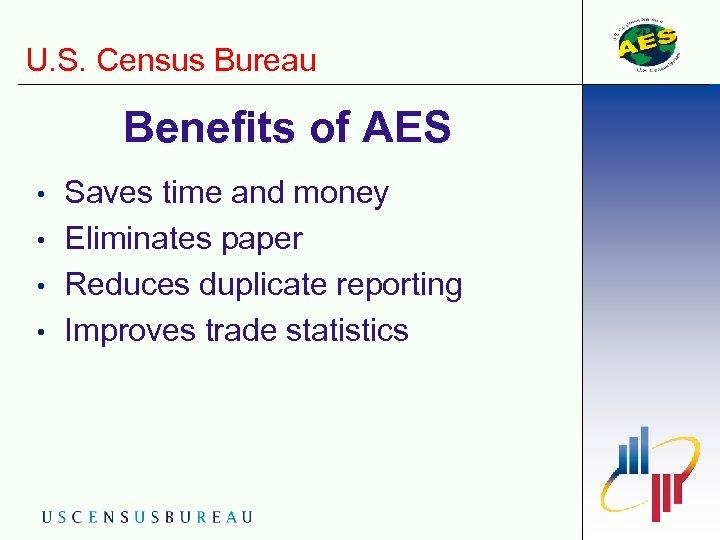U. S. Census Bureau Benefits of AES • • Saves time and money Eliminates
