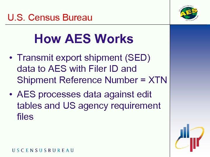 U. S. Census Bureau How AES Works • Transmit export shipment (SED) data to