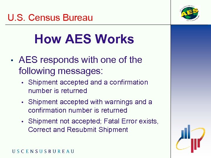 U. S. Census Bureau How AES Works • AES responds with one of the