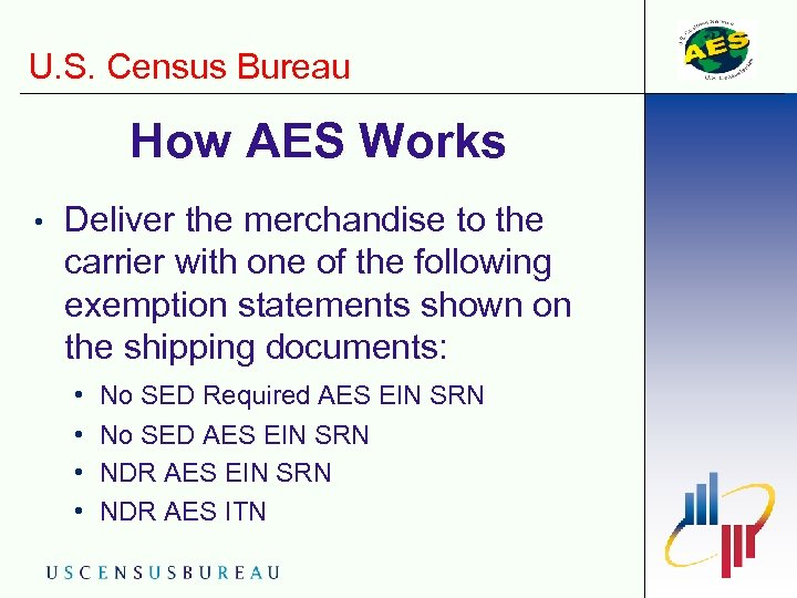 U. S. Census Bureau How AES Works • Deliver the merchandise to the carrier