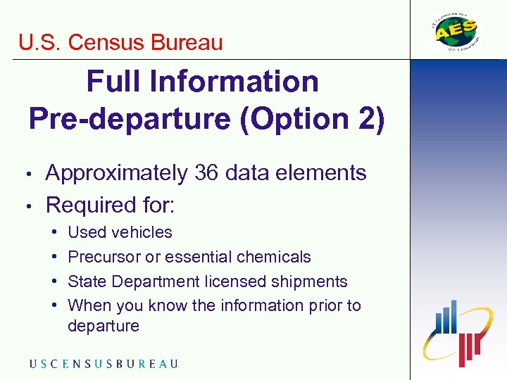 U. S. Census Bureau Full Information Pre-departure (Option 2) • • Approximately 36 data