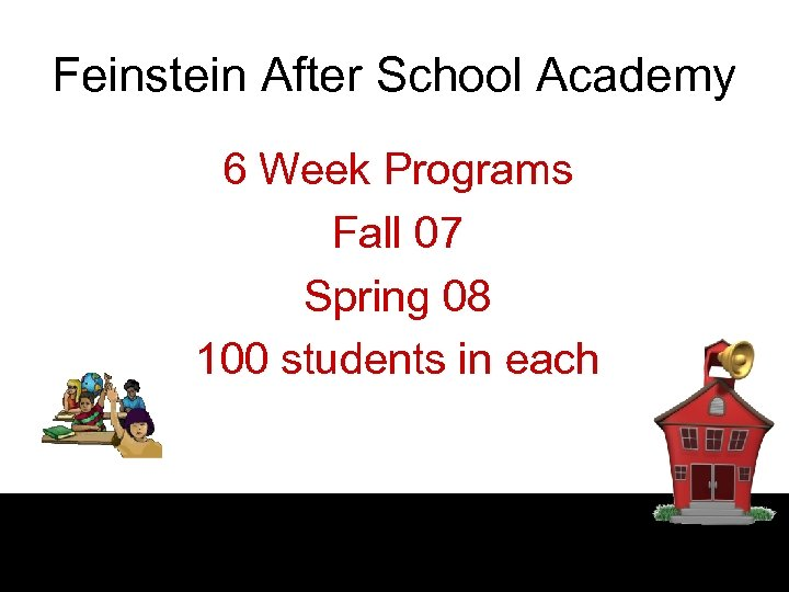 Feinstein After School Academy 6 Week Programs Fall 07 Spring 08 100 students in