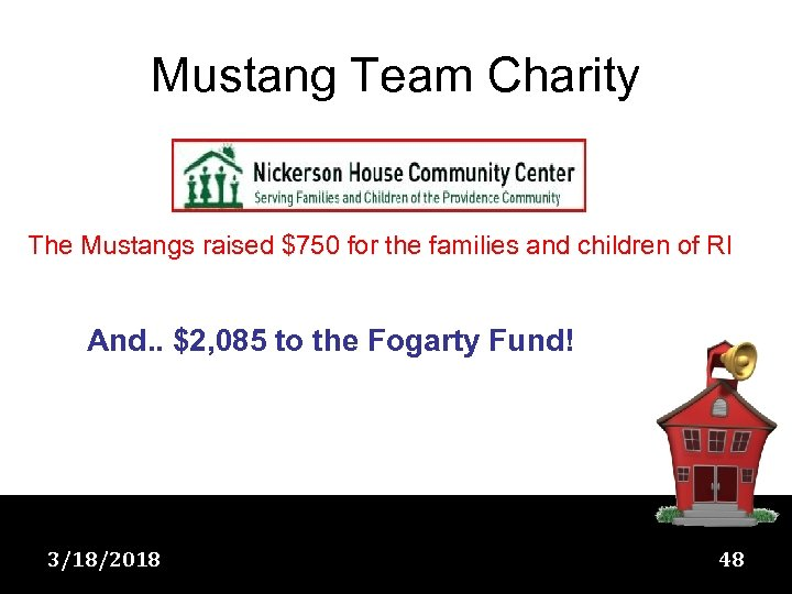 Mustang Team Charity The Mustangs raised $750 for the families and children of RI