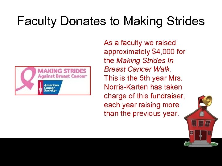Faculty Donates to Making Strides As a faculty we raised approximately $4, 000 for